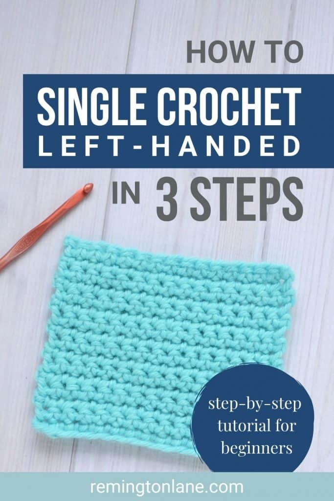 Red H crochet hook with bright turquoise yarn in a swatch of single crochet stitches