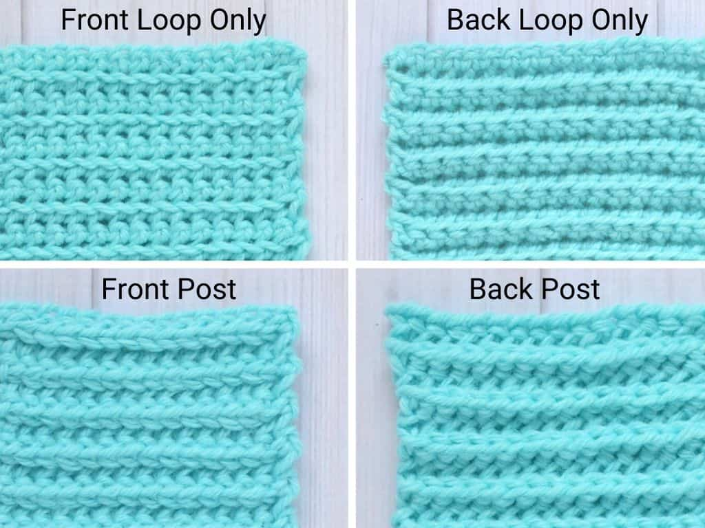 Beginner variations of single crochet stitch, like front loops or back post