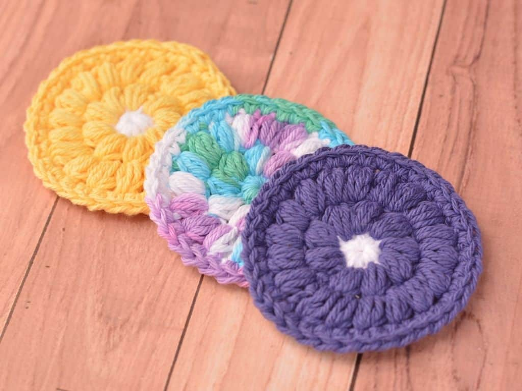 Yellow flower, ombre, and purple flower face scrubbies