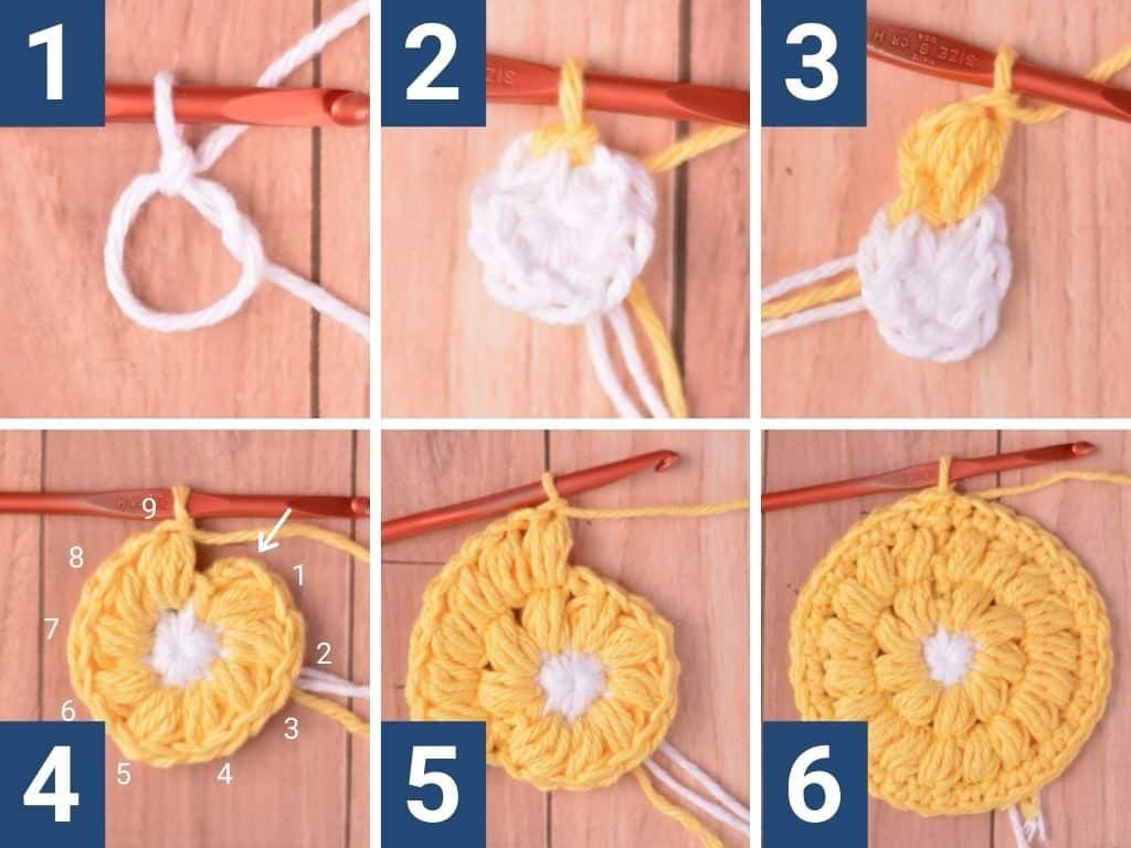 Step-by-step images of making the flower version of this pattern.