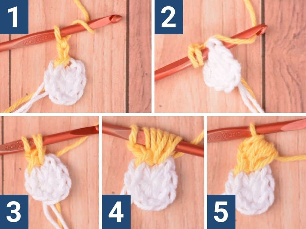 Step-by-step images of how to make the puff stitch used in this pattern