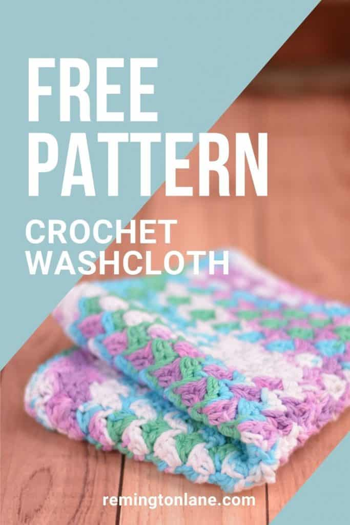 Pinterest pin image with crochet grit stitch washcloth in beach ball blue yarn