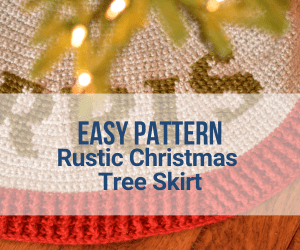Crochet Christmas Tree Skirt with rustic yarn in grey, red and green colors