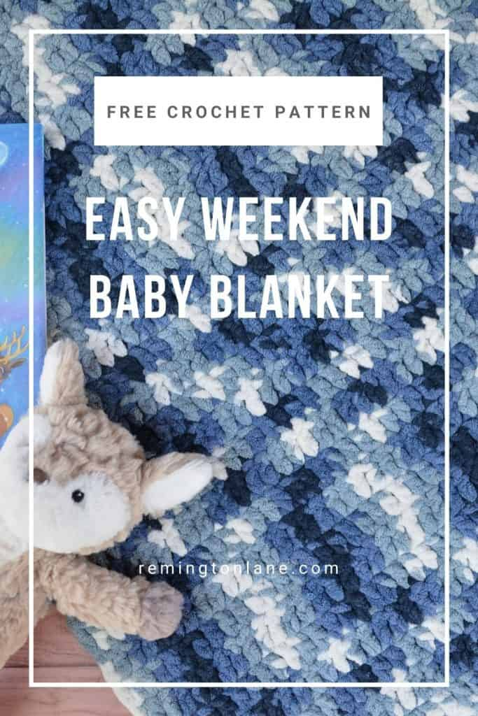 Pinterest image used to save this free crochet baby blanket pattern to Pinterest