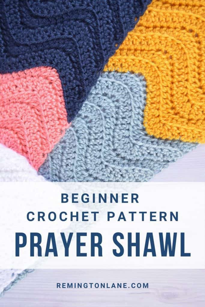 Pinterest pin image for this prayer shawl pattern that can be saved for later.