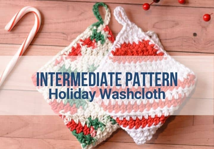 Crochet holiday washcloth in two color options