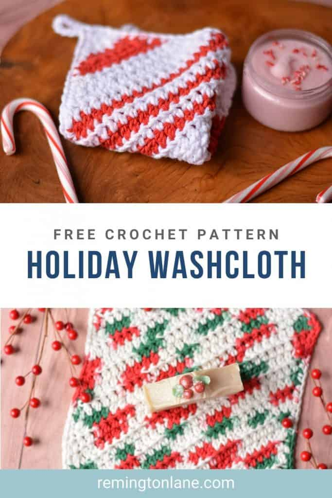 Save this crochet holiday washcloth pattern on Pinterest for when you have time to make it