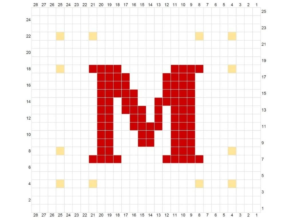 Example of letter M chart that depicts how to make this blanket square