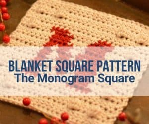 Cover image with text overlay over this crochet blanket square pattern