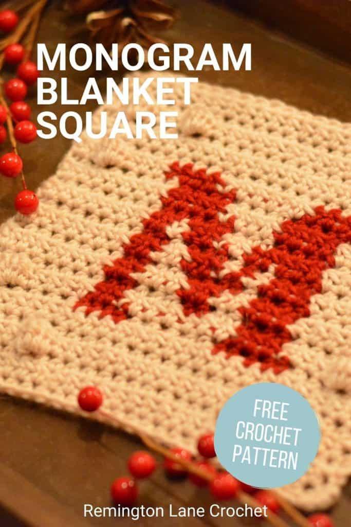 Pinterest image for the monogram letter blanket square