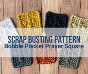 A collection of crocheted prayer squares, each in a different color yarn