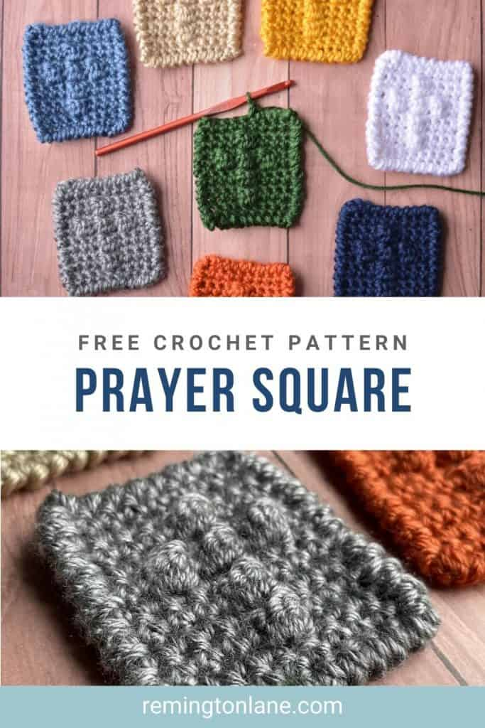 A collection of pocket prayer squares as a reminder to save this post on Pinterest