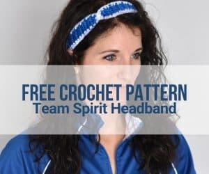 Female Indianapolis Colts football fan wearing a crochet headband in team colors.