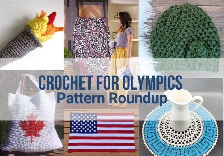 A featured collage of Olympics crochet patterns in a roundup post