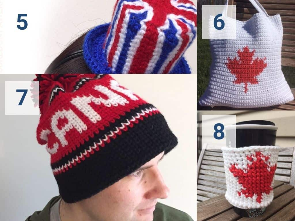 Olympics crochet patterns for Great Britain and Canada