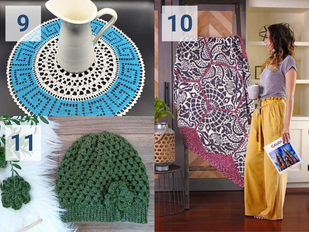 A collage of Olympics crochet patterns including patterns for Greece, Spain and Ireland