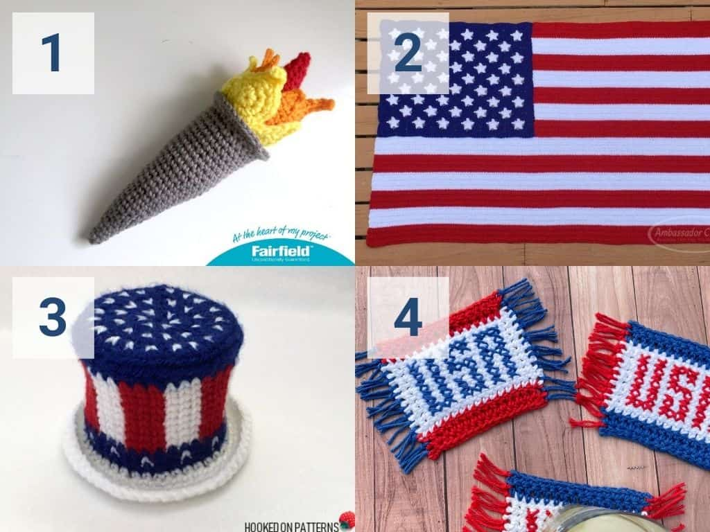 A collage of Olympic-themed crochet patterns including a torch, American flag, hat, and USA mug rug